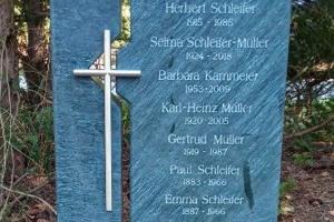 Gütersloh, Grabstein, Zweiteiler, Edelstahlkreuz