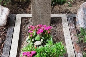 Münster, Zentralfriedhof, Grabanlage, Grabstein, Stele, Einfassung, Grableuchte, Bronzevogel