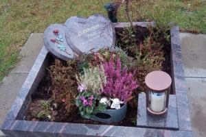 Münster, Roxel, Urnengrab, Liegestein, Herz, Doppelherz, Bronzerose, Einfassung, Grableuchte