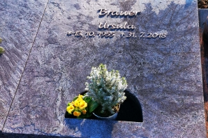 Harsewinkel, Urnengrabanlage mit Teilausschnitt Grablaterne aus Granit