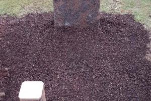 Urnengrabstein mit Blattranke und vertiefter Schrift, Barap Granit